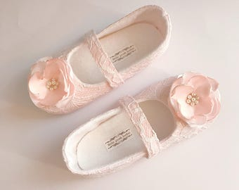 Toddler Girl Shoes Baby Girl Shoes Soft Soled Shoes White and Blush Lace Wedding Shoes Flower Girl Shoes White Blush Shoes - Juliette