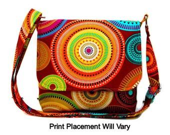 Small Messenger Bag, Cross Body Bag, Fabric Purse, Hippie Bag, Michael Miller Norwegian Woods Aurora Borealis Forest Cocoa, Pouch Option