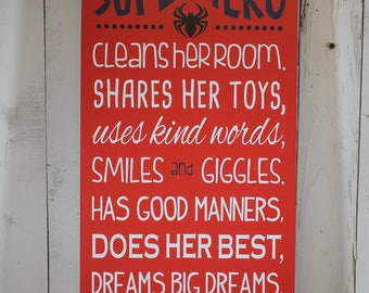 A true SUPERHERO/Subway Style/Girl Sign/Girl's Decor/Gift//Red/ Blue/White/Spiderman/Superhero/Wood Sign/Hero/Girl Rules