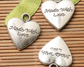 6pcs dark silver color heartl shaped MADE WITH LOVE lettering charms EF2740
