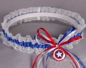 Captain America Lace Wedding Garter - Ready to Ship