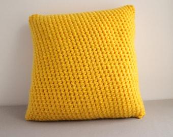 "SALE: 12"" Bright Yellow Crochet Pillow"