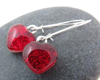 Red Heart Earrings - Valentine Dangle Earrings