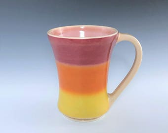 Orange Ceramic Mug, Porcelain Mug, Orange Yellow Pink Mug, Ceramic Coffee Mug, Large Tea Mug, Wheel Thrown Pottery Mug, Ceramic Coffee Cup