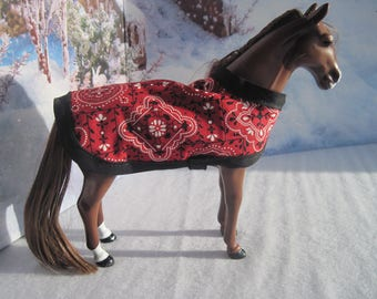 """A Horse Blanket for a 6-1/2"""" (Shoulder to hoof) pony, such as My Life Mini or other similar sizes ponies. Reversible. Ready to ship."""