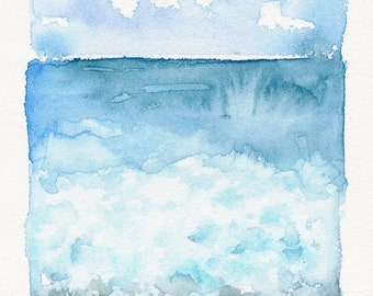 On The Rocky Coast / Original Signed Ocean Abstract Watercolor Painting