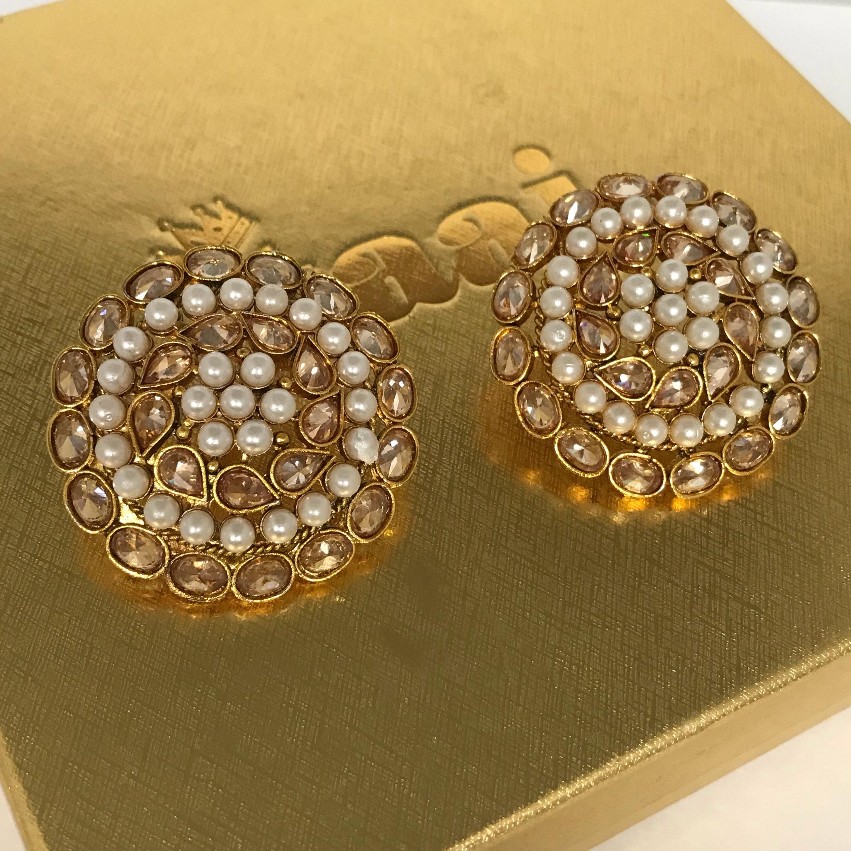 Indian Pakistani Jewellery Gold & pearl zirconia stud tops