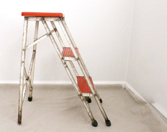 Metal Step Ladder, Vintage Red Step Ladder