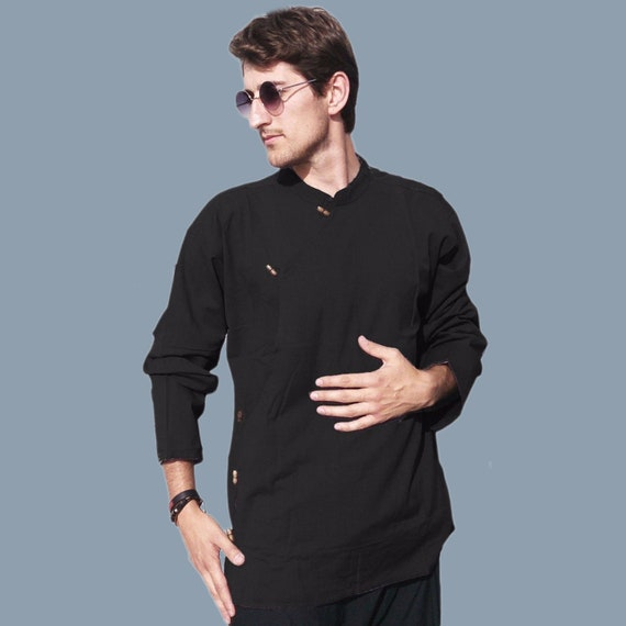 Men's full sleeve Tibetan style shirt - Ethnic Kurta Hippie Yoga shirt - ASSORTED COLORS pIgCgKNl