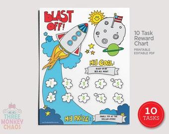 10 Tasks | Rocket Ship Reward Chart | Kids Chore Chart | Star Chart | Behavior Tracker | Sticker Chart | Routine | Printable Editable PDF