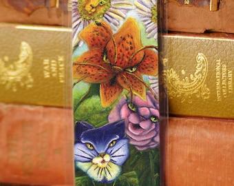 Garden Cat Flowers Bookmark Alice in Wonderland Cat Bookmark