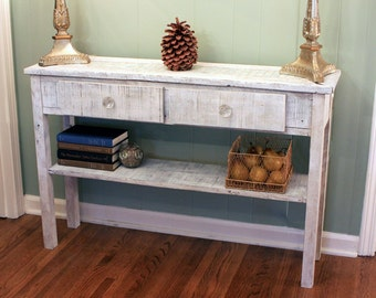 Whitewashed Sofa Table. White Hallway Table. Whitewash Entry Table. Mother  Of Pearl Mosaic