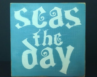 Seas The Day Hand-Painted Wooden Beach Box