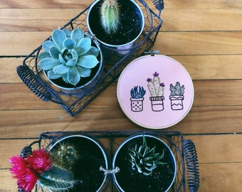 Succulent Hand Embroidered Hoop