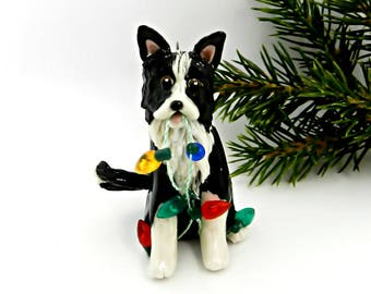Border Collie Porcelain Christmas Ornament Figurine Lights