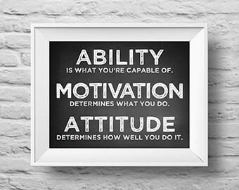 ABILITY MOTIVATION ATTITUDE unframed art print Typographic poster, inspirational print, family, custom wall decor, quote art. (R&R0147)