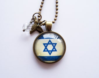 Flag of Israel - Pendant Necklace - You Choose Bead and Charm - Patriotic Jewelry - Custom Jewelry - Travel Necklace - Star of David