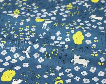 Japanese Fabric Megumi Sakakibara lawn - Hanazono - blue - 50cm