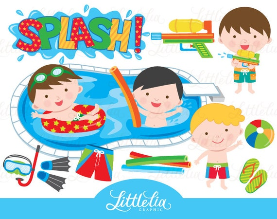 Boy Pool Party Clipart Pool Party Clipart Summer Clipart