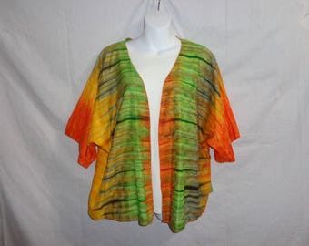 These beautiful Kimonos will add a splash of excitement and elegance to your outfits.  Orange Green Yellow, Rust Shade, accent tops stylish.