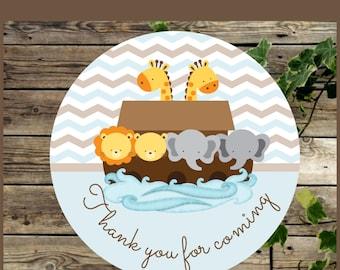 Printable Favor Tags, Noahs Ark Baby Shower Printable Gift Tag, Printable Label for Baby Shower,  Instant Download,  Cupcake Topper