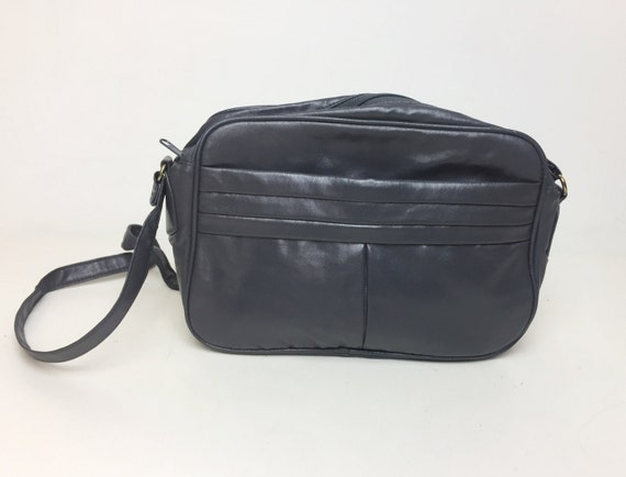 80's Basic Gray Cross Body Purse - Vtg Old Lady Hipster Purse - Basic Dark Gray Everyday Purse - Classic Vinyl Long Strap Shoulder Bag