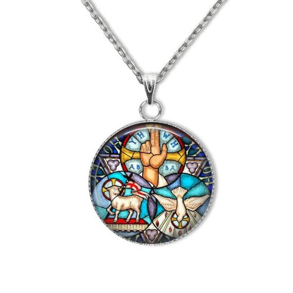 Trinity Pendant, Stainless Steel Pendant with 18 or 24 inch Stainless Steel chain - Catholic Jewelry