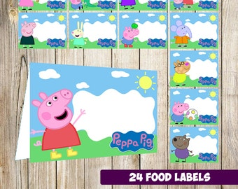 24 Peppa Pig Food Tent Cards instant download, Printable Peppa Pig Labels, Peppa Pig labels party printable