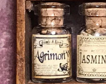 "Jar of AGRIMONY for a dollhouse, witch's herbs and poisons, dollhouse size, in a glass jar 1:12 1/12 1"", under 1"" tall, (simulated)"