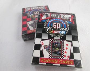 2 NOS NASCAR 50th Anniversary Card Decks Pack of Cards deck of cards unopened cards NASCAR playing cards race car cards car playing cards