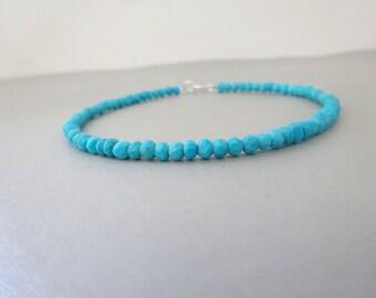 Genuine Turquoise Bracelet, Mens bracelet,  Beaded bracelet, Mens jewelry, Birthstone bracelet, December birthstone, Chrismas gift for him