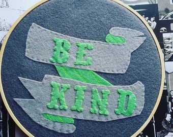 Be Kind tattoo banner embroidery hoop artwork