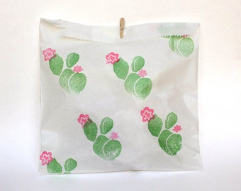 CACTUS PARTY Favour Bags - Boho party bags, prickly pear decor, Tribal favours, pow wow party, wild one party x 10