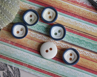 "6 small buttons Navy Blue and off-white diameter 1.3 cm - 0.51 ""-BOUT253"