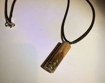 Wood pendant and resin necklace