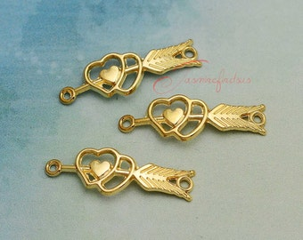 20PCS--39x13mm ,Arrow Charm Connectors,Antique Tibetan golden Cupid's arrow charms pendants , DIY Findings, Jewelry Making