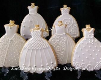 Wedding Gown Cookies - Wedding Dress Cookies - #3 ---6.00 each
