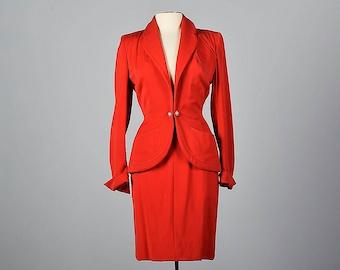 XS 1950s Schiaparelli Skirt Suit Red Wool Gabardine Hourglass Blazer Pencil Skirt Designer Vintage 50s