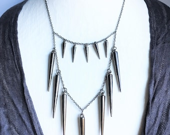 Double-Layered Spike Necklace;  spike jewelry, spike necklace, spikes, steampunk jewelry, spiked necklace, spiked jewelry, black spikes