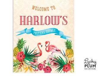 Tropical Welcome Sign / Flamingo Welcome Sign / Luau Welcome Sign / Pineapple Welcome Sign / Aloha Welcome Sign / Printable DIY