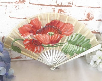 Lovely Antique Paper Ladies' Hand Held Fan, Victorian Floral Opera Folding Fan, Hand Painted Pink red flower wood, Romantic, Edwardian