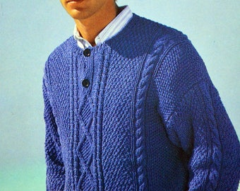 Man with cable sweater pattern