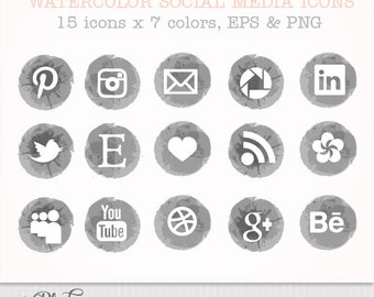 Watercolor Social media icons set of 15 x 7 colors grey black storm blue purple pink soft watercolor  - Eps and PNG - instant download