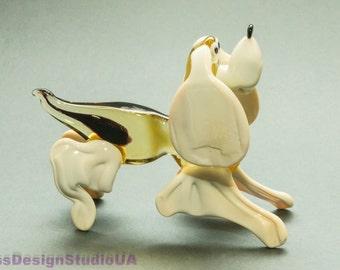 Dog Blown Glass Figurine Glass Poodle Dog figurine Miniature Glass Collectible Home decor Murano Art Glass Animals Sculpture Dog lover gift