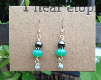 Teal Glass & Hematite Earrings