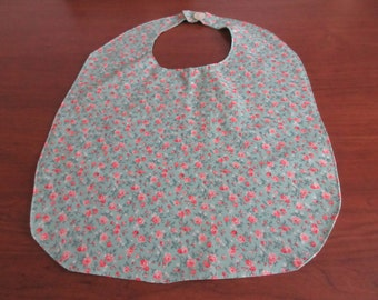 Handmade Colorful Floral Adult Bib with Snaps