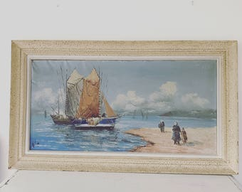 Huge vintage French oil painting with frame