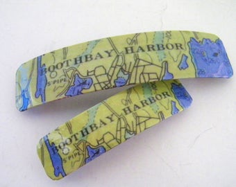 Boothbay Harbor French Barrette - Mother Daughter gift - Mainemade - with Resin Coat - Boothbay Harbor Maine