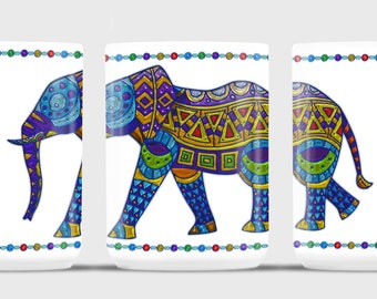 Jeweled, Stylized Elephant Coffee Mug