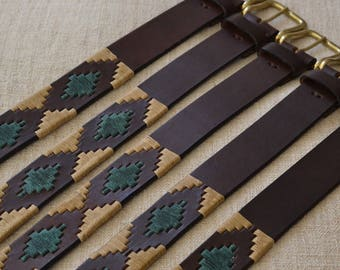 Mano, GIFT IDEA embroidered leather belt gift embroidered belt Argentinian gaucho leather belt